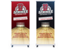 Banner stands created to promote a brand an events