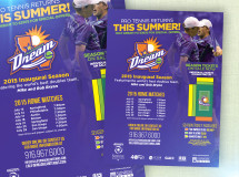Schedule poster for bars and restaurants in and around the California Dream stadium