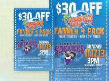 Ticket voucher created for Hawaiian Falls and the Dallas Sidekicks