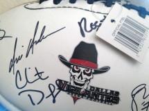 An autograph ball merchandise item created for the Dallas Vigilantes