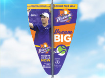 Pole banners developed for the California Dream professional tennis team to help brand the team in the community