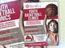 Flyer design for a basketball clinic at First Baptist Dallas