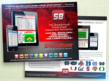 A postcard developed by West Shore Technology promoting their SportsBoard mobile player assessment technology