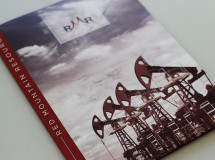 A pocket folder created for Red Mountain Resources to use as part of the company's Annual Report