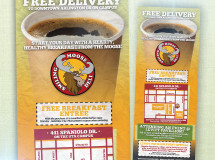 A door hanger developed for Smiling Moose Deli to promote its new free delivery initiative