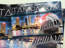 A promotional poster promoting the upcoming season for the Tampa Bay Rain professional basketball team