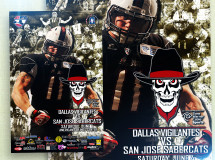 A promotional poster handed out to fans at a Dallas Vigilantes Arena Football game