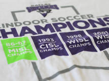 A t-shirt design for the Dallas Sidekicks commemorating the team's four indoor soccer championships