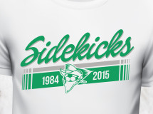 A retro t-shirt design for the Dallas Sidekicks indoor soccer team depicting the organization's original logo used during the early years of the franchise