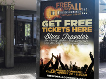 Outdoor signage developed for the FreeForAll Concert Series