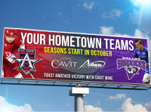 Billboard designed to promote the upcoming seasons of two professional sports teams