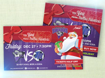 Print and digital web ads created to promote a Christmas-season games for the Dallas Sidekicks professional indoor soccer team