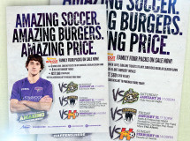 A print ad developed for the Dallas Sidekicks professional indoor soccer team promoting its partnership with In-N-Out Burger