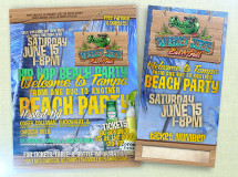 Poster, event flyer, and event ticket created for an event in Tampa thrown by members of the Tampa Bay Buccaneers
