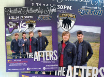 A print ad developed for the Dallas Sidekicks professional indoor soccer team promoting a postgame concert featuring the Christian pop rock band The Afters