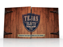 A unique pocket folder design for Tejas Slots which includes various product spec sheets for sales staff to leave behind with business owners