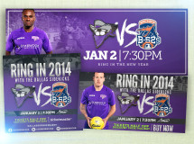 Graphics developed for the Dallas Sidekicks social media platforms promoting one of their home games